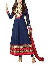 Mrig Women Faux Gorgette Semi-Stitched Anarkali Suit (El30009-Blue)