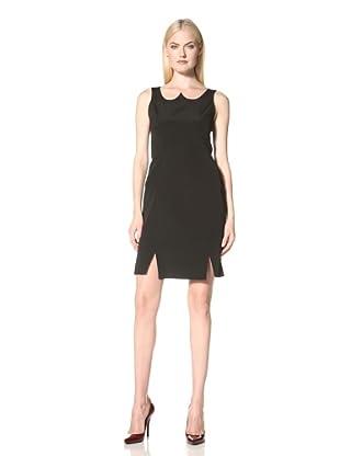 Christian Siriano Women's Crepe Dress with Peaked Neckline (Black)