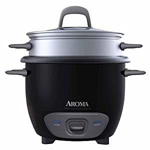 Aroma Arc-3-Cup (Uncooked) 6-Cup (Cooked) Rice Cooker and Food Steamer