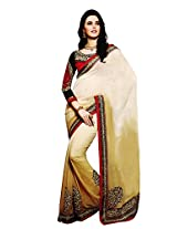 Faux Georgette Beige & Red Colour Saree for Party Wear
