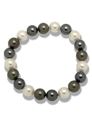 Perldor Armband Muschelkernperlen schwarzgrün/weiß/jade 60650067