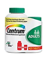 Centrum Multivitamin/multimineral Supplement a to Zinc 425 Tabs