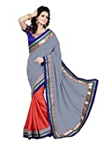 Zoom Beautiful Grey Georgette with Heavy Embroidered work Saree