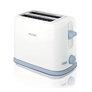 Philips Daily Collection HD2566 2-Slice 950-Watt Cool Wall Pop-up Toaster (White/Blue)