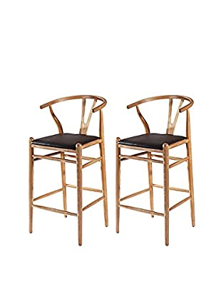 Manhattan Living Set of 2 Woodstring Bar Stools, Natural