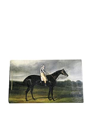 Twigs and Moss Black Horse with Jockey Glass Tray