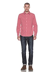 Just A Cheap Shirt Men's Plaid Button-Front Shirt (Red/White)