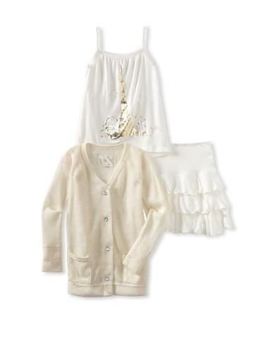 Ivy & Olivia Girl's Ruffle Skirt Cardigan and Cami 3-Piece Set (Ivory/Gold)