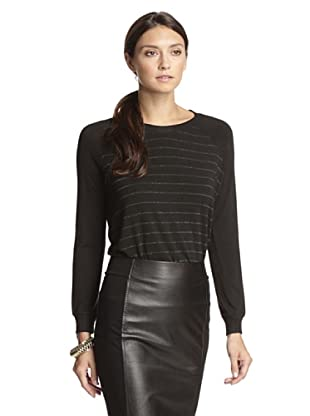 Bella Luxx Women's Metallic Stripe Pullover (New York Stripe)