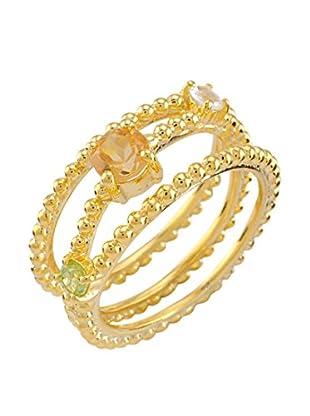 Melin Paris Anillo Citrino, Piedra de Luna Arco Iris & Peridoto (Dorado)