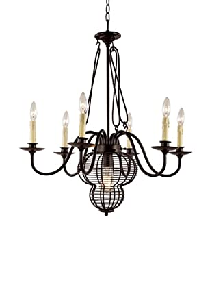 Bel Air Lighting French Basket Black 7-Light Chandelier
