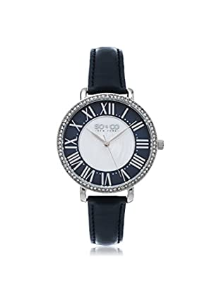 SO & CO Women's 5090.2 SoHo Navy/White Leather Watch