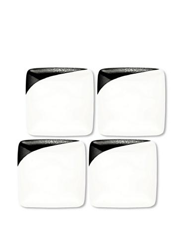 Noritake Everyday Elegance Set of 4 Metaal Small Square Plates (White/Black)