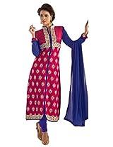 Pink colour unstiched salwar kameez