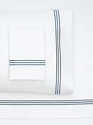 Nine Space Embroidered Sheet Set (White/Navy)