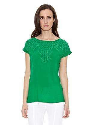 Cortefiel Camiseta Bordada Hilo (Verde)
