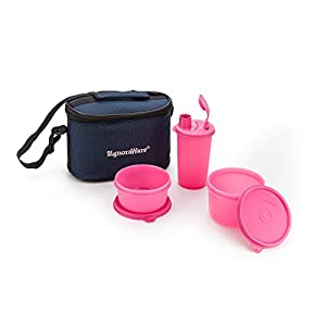 Signoraware Combo Small Executive Lunch with Bag, Pink