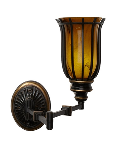 Feiss Swing Arm Single Light Sconce, Expresso