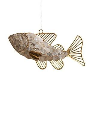 Capiz And Wire Fish Ornament, Gold