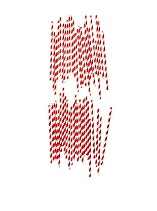 ACME Party Box Set of 48 Stripey Straws (Red)