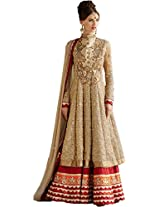 Rozdeal Women Net Embroidery Cream and Golden Floor Touch Anarkali Suit