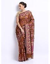 Bunkar Cotton Silk Patch Work Saree (1308Brtm _Brown)
