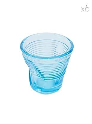 Kaleidos Set 6 Bicchieri Accartocciati 115 ml (Azzurro)