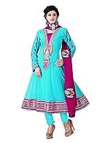 Nazaquat Elegant Turquoise Anarkali Suit Salwar Kameez