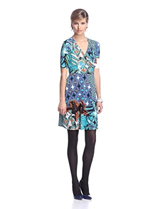 Donna Morgan Women's Printed Faux Wrap Dress (Jadeite Multi)