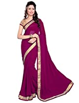 Sourbh Sarees Spelendid Wine Faux Georgette Best Sarees (with color options)for Women Party Wear,Karwa Chauth Gifts for Wife,Women Clothing Collection