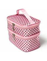 Portable Polyester Double Layer Makeup Cosmetic Toiletries Bag (Pink)