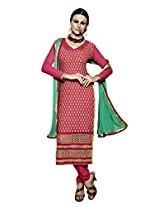BanoRani Dark Pink Color Chiffon Embroidery Semi Stitched Salwar Suit(Chudidar)