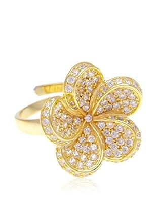 Silver Luxe Anillo Roseta Circonitas en Oro