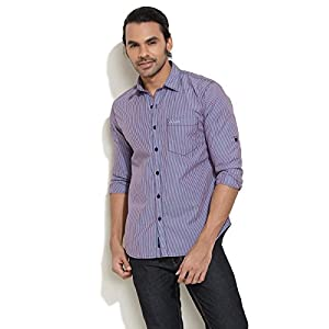 Le Bison Red Casual Style Stripe Shirt