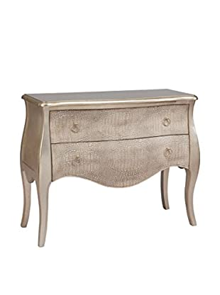 Coast To Coast Two Drawer Chest, Ivory/Silver