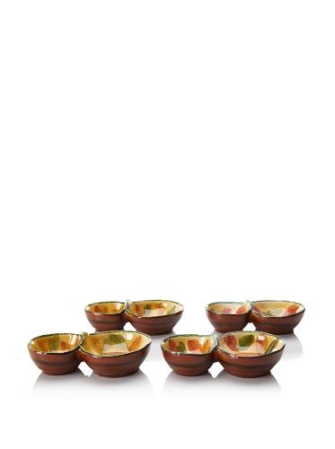 Modigliani Set of 4 Frutta Laccata 2-Section Dishes