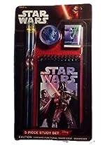 Star Wars 5 Pc Study Set: 2 Pencils, 1 Pencil Sharpener, 1 Eraser & 1 Notepad (Darth Vader)