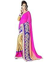 Admyrin Beige and Pink Georgette saree With Art Silk Blouse Piece