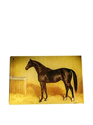 Twigs and Moss Horse Named Santry in Stable Glass Tray