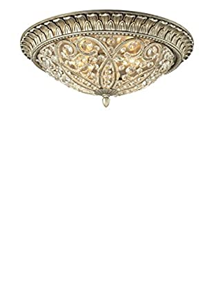 Artistic Lighting Andalusia Collection 4-Light Flush Mount, Aged Silver