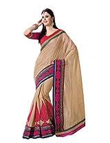 De Marca Beige Tassar Silk Festive Wear 7101 Saree