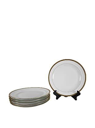 Set of 6 French Limoges Dinner Plates, White/Gold