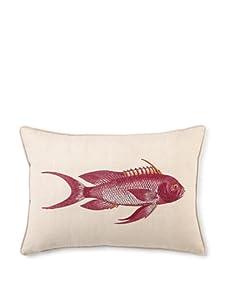 """D.L. Rhein Snapper Embroidered Cotton/Linen Blend Pillow, Red, 14"""" x 20"""""""