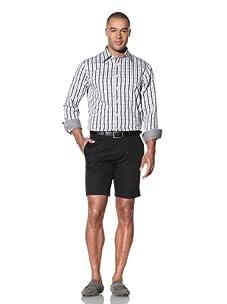 Report Collection Men's Open Check Shirt (Black)