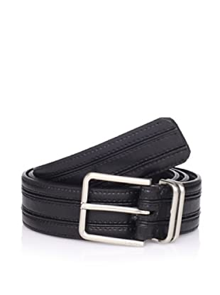 Calvin Klein Men's Strap Belt with Stitched Panels (Black)