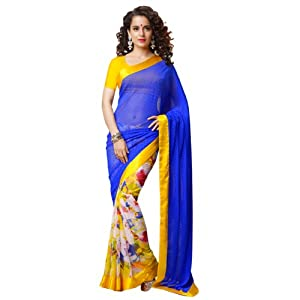 Ishi Maya Women Blue And Yellow Printed Saree