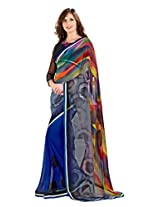 Vibes Women's Raga Georgette Saree With Border And Blouse (S25-5002_ Multi-Coloured)