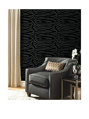 Zebbie Zebra Print Wallpaper, Black