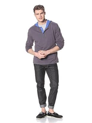Dorsia Men's Tristan Reversible Long Sleeve Henley (Blue/Grey)