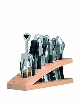 BergHOFF Squalo 7-Piece Kitchen & Bar Set, Silver/Black
